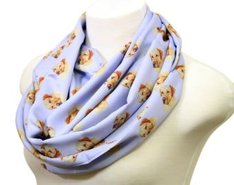 Yellow retriever infinity scarf Golden lab dog scarves puppy pup Print present loop Scarf Women birthday Gift for her girlfriend wife fall