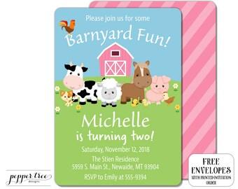 Pink Farm Animals Birthday Invitation- Girl Barnyard Birthday Invitation - first birthday or any age - cow horse pig farm animals #FARM013