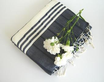 valentine's day, TURKISH BATH TOWEL,  Eco-friendly Peshtemal, Natural Soft Cotton, Home, Bathroom, Beach, Spa, Yoga Towel, mothers,  Navy,