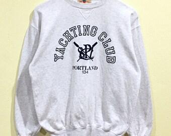 Rare!!! Vintage Yachting Sweatshirt Yachting Club Portland Embroidery Big Logo Seawear Concept Sea Gear Yacht Op Surf Surfboards