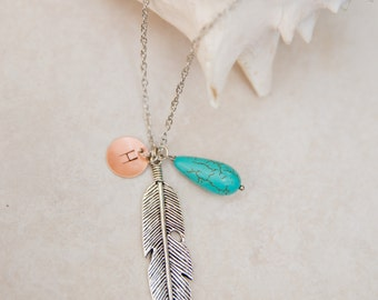 Personalized Necklace, Initial Jewelry, Silver Feather with Turquoise Howlite Teardrop, long necklace, layering necklace, boho necklace