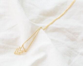 18k Gold triple triangle pendant necklace