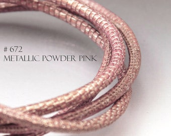 1ft Pink leather cord 4mm Metallic leather cord Leather string Stitched leather strip 4 mm Rose gold Leather Round leather cord  PINKMETAL4