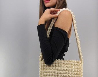 Vintage 70s Crochet Purse, Shoulder Purse, Bohemian Bag, Hippie Bag, Boho Crochet Purse, Bobble Stitch Crochet Bag, Handmade