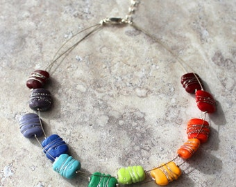 Necklace. Colorful necklace. Rainbow necklace. Chakra necklace. Bead necklace. Statement necklace.Gift for her.Mothers day gift.Colour wheel