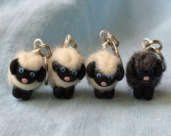 Woolly Sheep Felted Stitch Markers Fun Stitch Markers Sheep Stitch Markers Progress Keepers Polymer Clay Knitting Supplies Set of four