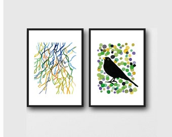Art Gift for Bird Lover, set of 2 watercolor prints, Father's day gift for him, Blackbird and Branches