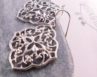Silver Filigree Earrings, Silver Lace Earrings, Silver Filigree Moroccan Earrings, Silver Boho Earrings, Filigree Gypsy Statement Earrings