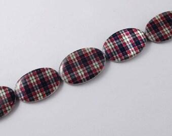 Set of 4 printed beads - Scottish - oval flat T36