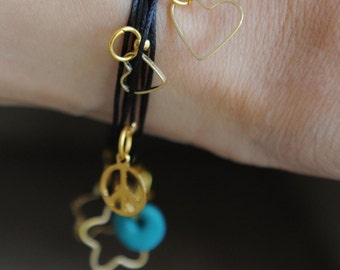 Luck Bracelet anklet necklace gold cameo charms multi wrap loop black heart flower turquoise peace hamsa fish 3 in 1 by RedBracelet on Etsy