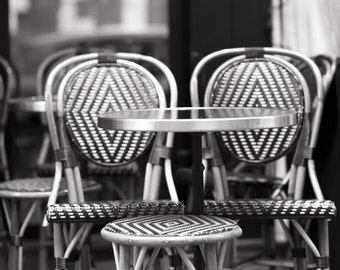 Paris Photography - Cafe Chairs in Black and White, Large Wall Art, Home Decor, French Kitchen Wall Art