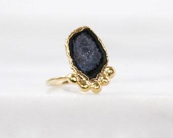 natural crystal ring   druzy crystal ring   raw gemstone ring   druzy geode ring   natural agate ring   agate stone ring   rough drusy ring