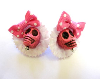 Sugar Skull Earrings Day Of The Dead Jewelry Pink White Hat Bow