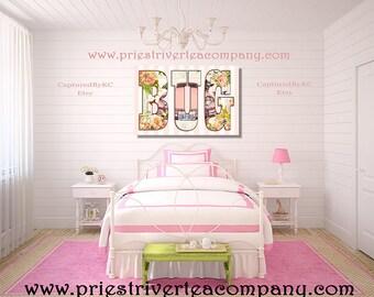 Pink VW Bug Word Wall Art Wall Canvas Art Wall Art Print Canvas Art Canvas Decor Chihuahua Wall Decor