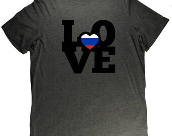 Russia LOVE Flag Russian Pride T Shirt