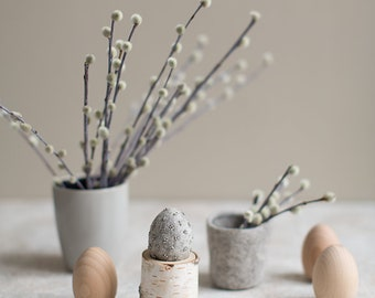 Easter egg decoration | Natural gray felted egg | Unique embroidered home decor Rustic Easter table centerpiece with optional birch egg cup