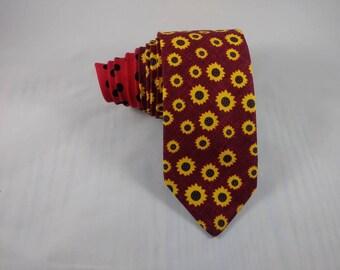 Burgundy Sunflower Handmade Necktie