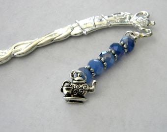 Teapot Bookmark with Blue Glass Beads Silver Color Shepherd Hook Bookmark Tea Design