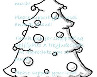 Digital Stamp or Coloring Page - Christmas Tree - A portion of every sale to RESCUES!!!