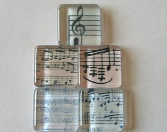 Music Notes Square Glass Tile Magnets Set of 5