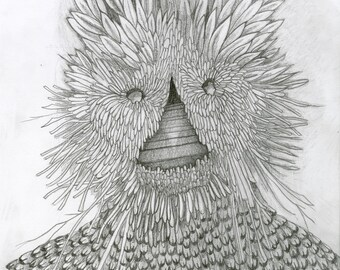 Mask of Twigs, Leaves and Pine Cones, original art drawing