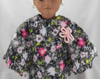 "18"" American Doll Girl Black and Pink Poncho and Hat with Pink Crocheted Flower"