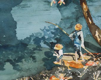"""Boys Fishing at the Stream - Original Watercolor Painting, 7"""" x 20"""" in size, unframed."""