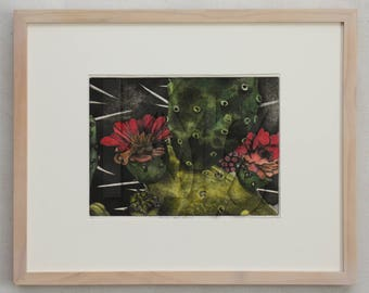 Framed Intaglio Print - Soft Ground Etching of Prickly Pear Cactus Hand Colored with Watercolors
