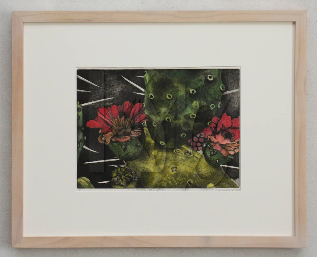 Framed Intaglio Print Soft Ground Etching of Prickly Pear