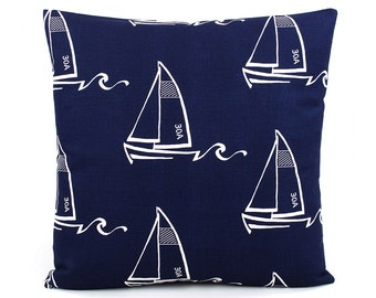 CLEARANCE Sailboat Throw Pillow Cover, Choose Your Size, Navy Blue and White Pillow, Nautical Pillow, Sailing Pillow, Ocean Pillow