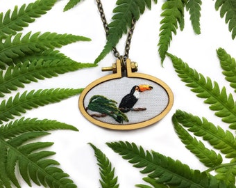 Toco Toucan// Hand Embroidered Pendant Necklace, Key Chain or Pin// Miniature Embroidery