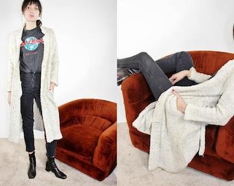 70s Neutral Blanket Coat / Beige Long Wrap Cardigan / S Small