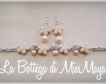 Ceramic bracelet and earrings and river pearls