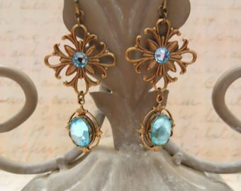 Aqua Blue Earrings, Swarovski Crystal and Brass Filigree, Something Blue Wedding Jewelry for Bride, Will You Be My Bridesmaid Proposal Gift