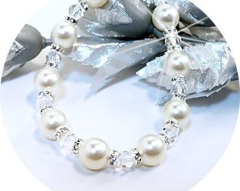 Elfenbein Perle Armband, Perlen und Kristallen, Braut-Accessoires, Brautjungfer Schmuck, Elfenbein Armband, Brautschmuck, Urlaub Schmuck