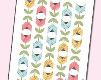 Dutch Tulips Quilt Pattern - Fat Quarter Friendly Pattern - Spring Flower Quilt Pattern - Easter Quilt Pattern - It's Sew Emma ISE 170