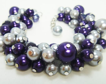 Pearl Bracelet, Purple And Gray Pearl Cluster Bracelet, purple bridal jewelry, purple and gray wedding combo, purple chunky pearl bracelet