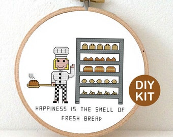 Cross Stitch Kit Bread Baker. Gift for Bakery opening. Modern cross stitch kit including embroidery hoop