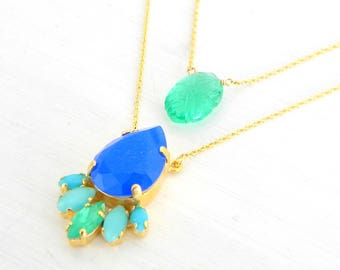 Emerald Cobalt Blue Turquoise Layered Necklace