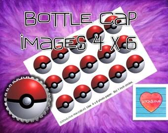 "Pokemon Pokeballs 3D 4x6 - 1"" circles, bottle cap images, stickers"