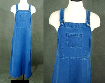 vintage 90s Denim Jumper - 1990s Jean Overall Dress Sz S M