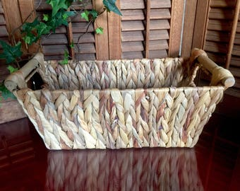 Wicker Basket Braided Seagrass Eco Hand Woven Large Twig Organic French Kitchen Farmhouse Beach Wedding Restaurant Easter Pastry Serving