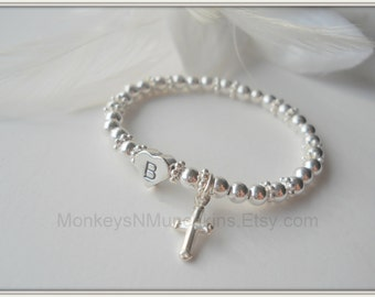 Heart Initial and Cross All Sterling Silver Baptism Bracelet