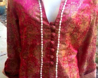 Vintage Silk Bright Pink Jacket Bohemian Style Festival epsteam Small Med Sale