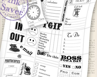 Office Notes cuttable notes save ink instant download printable digital collage sheet VDMIRE1002