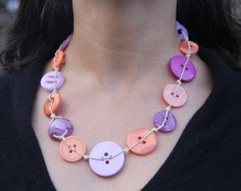 Woven necklace // purple orange buttons // hemp twine // chunky necklace // eco gifts
