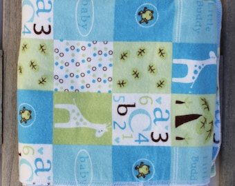 Cotton Flannel Reversible Receiving Baby Blanket