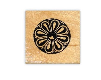 Carved Flower Rosette mounted rubber stamp, collage element, decorative accent stamp, Sweet Grass Stamps #1