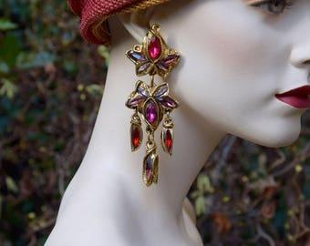 KALINGER 1980 Ivy Leaves Chandelier Earrings