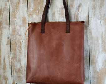 Distressed Leather Tote Bag,Brown Leather Purse,Leather Zipper Tote,Boho Tote Bag,Brown leather Bag,Distressed Leather Handbag,Brown Tote